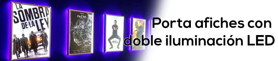 porta afiches con doble iluminación LED